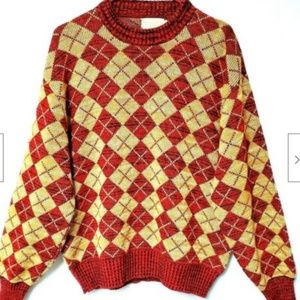 Columbia Knitwear Sweater Pullover XL Mens Red Tan